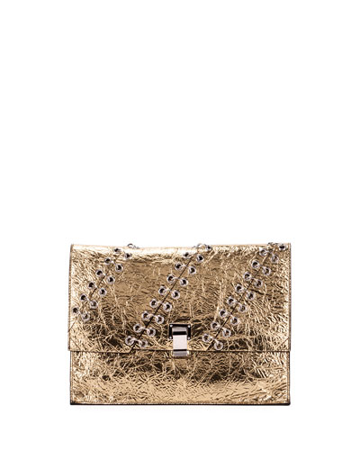Small Metallic Leather Lunch Bag, Gold