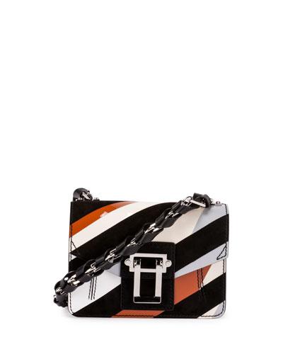 Hava Leather Chain Crossbody Bag, Black/White