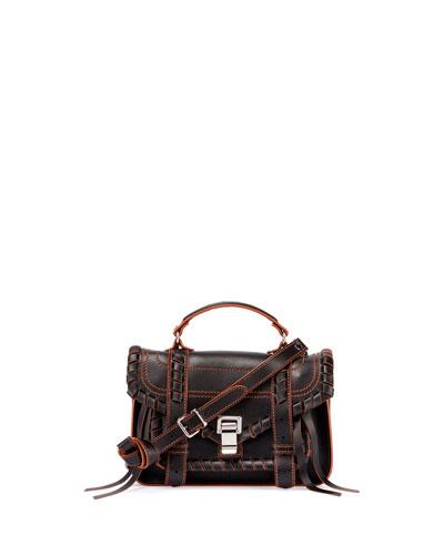 PS1 Tiny Leather Satchel Bag, Black/Orange