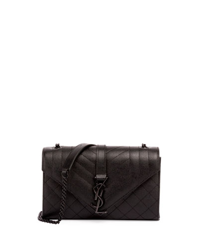 Monogram Small Quilted Shoulder Bag, Black