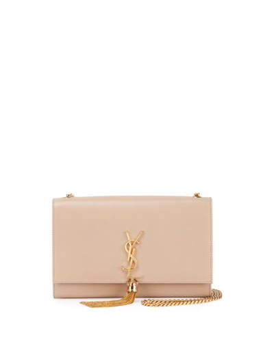 Kate Monogram Medium Leather Tassel Shoulder Bag, Powder (Poudre)