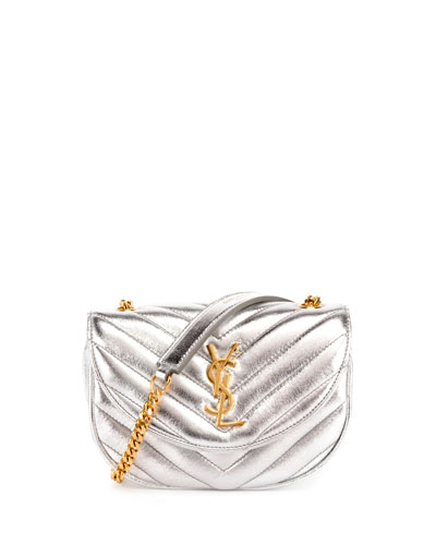 Monogram Small Bubble Chain Crossbody Bag, Silver