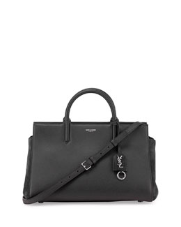 Rive Gauche Small Leather Satchel Bag, Black