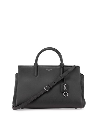 Rive Gauche Small Leather Satchel Bag, Black