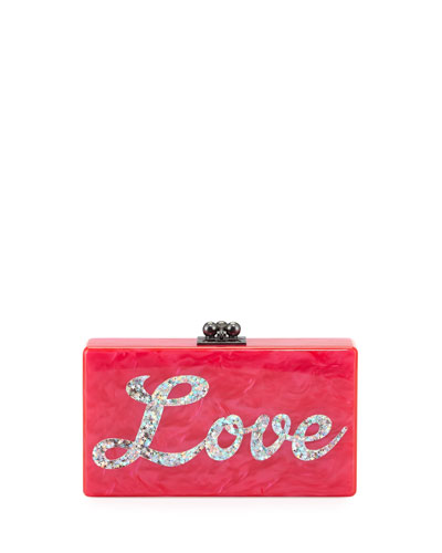Jean Love Acrylic Clutch Bag, Hot Pink Multi