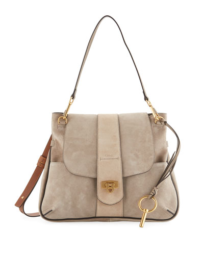 Lexa Striped Medium Shoulder Bag, Tan