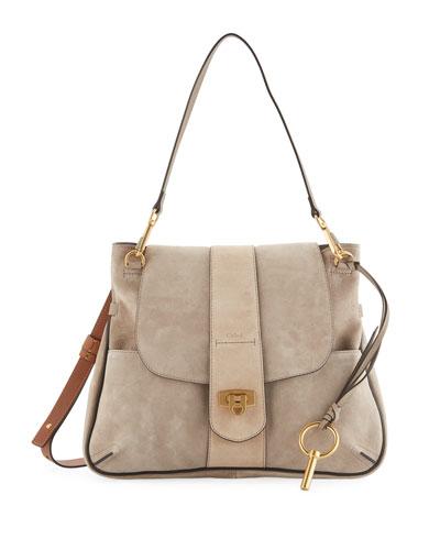 Lexa Striped Medium Shoulder Bag, Tan