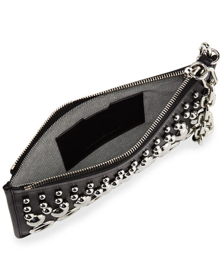 Attica Studded Chain Pouch Shoulder Bag, Black