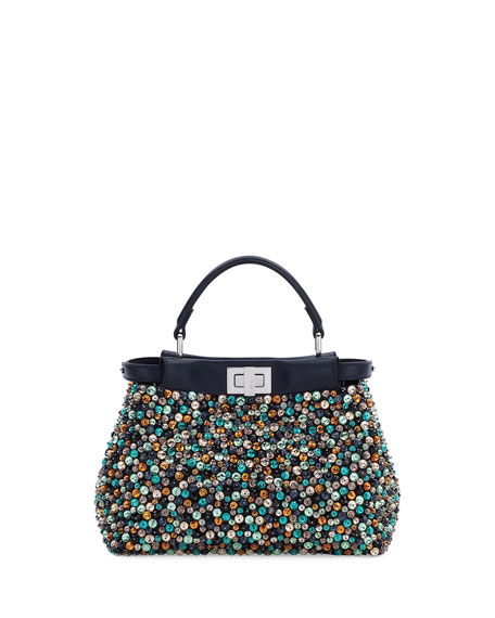 Peekaboo Mini Beaded Satchel Bag, Navy/Multi