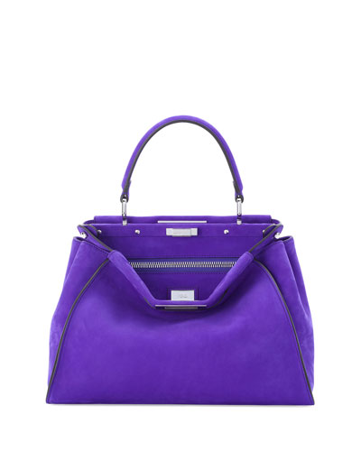 Peekaboo Medium Leather Satchel Bag, Purple