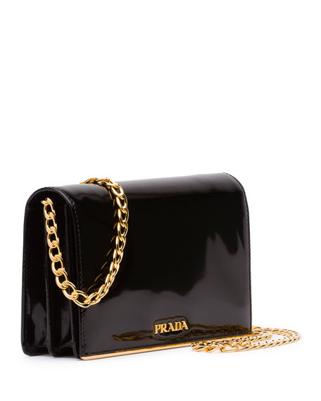 Prada Patent Chain Shoulder Bag, Black