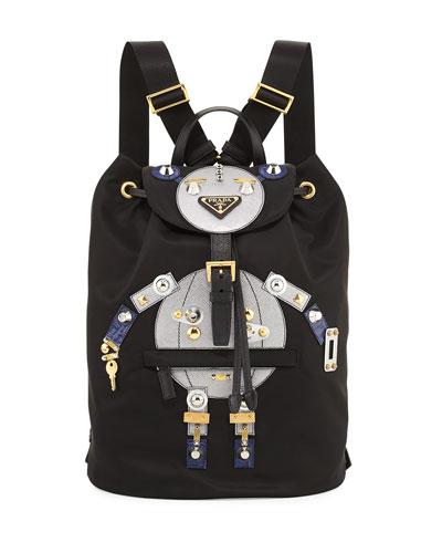 Nylon Robot Backpack, Black/Multi (Nero/Cromo)