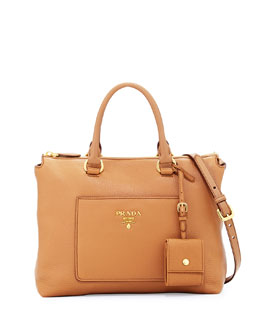 Pebbled Leather Tote Bag, Tan (Cannella)