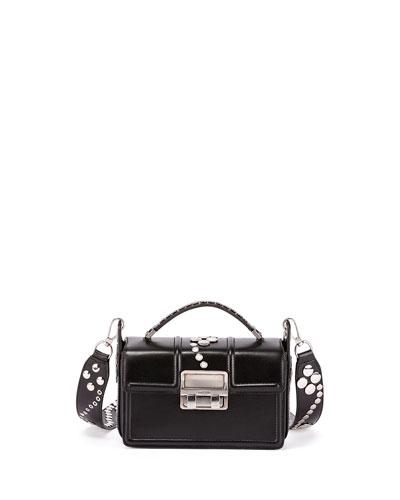 Jiji Mini Studded Leather Box Bag, Black