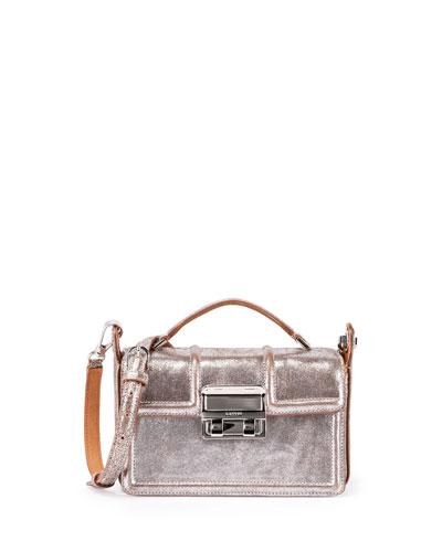 Jiji Small Leather Box Bag, Silver