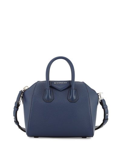 Antigona Mini Leather Satchel Bag, Night Blue