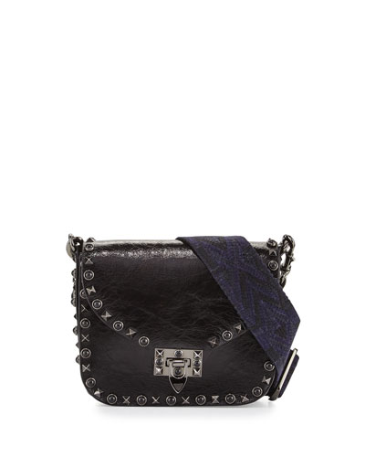 Rockstud Crinkled Leather Shoulder Bag, Black