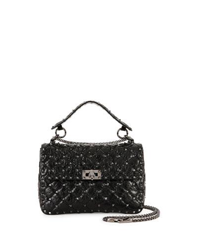 Rockstud Medium Matelasse Leather Shoulder Bag, Black