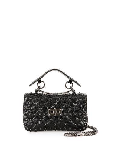 Rockstud Quilted Shrunken Leather Shoulder Bag, Black