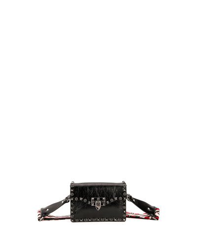 Rockstud Cabochon Guitar-Strap Flap-Top Bag, Black/Red