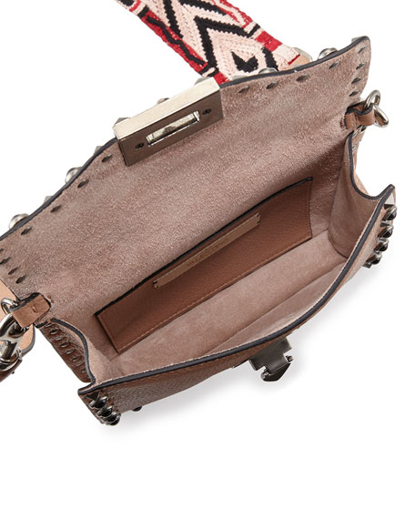 Rockstud Cabochon Guitar-Strap Flap-Top Bag, Beige
