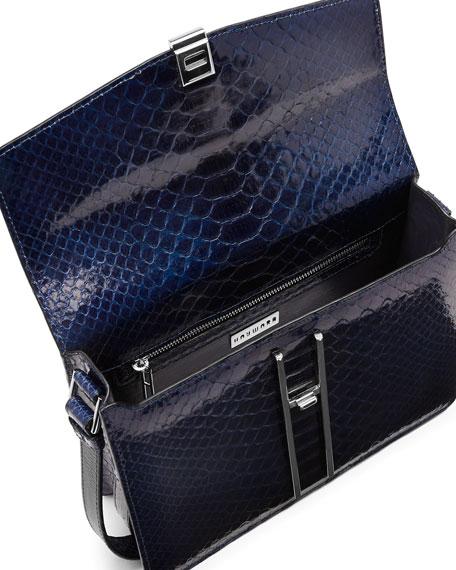 Glazed Python Crossbody Bag, Navy Blue
