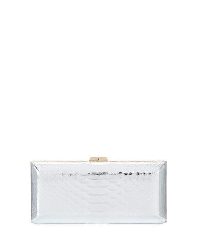 Rectangle Compact 21 Python Clutch Bag, Silver