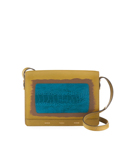 Pulce XL Vitello Leather & Ostrich Crossbody Bag, Neutral