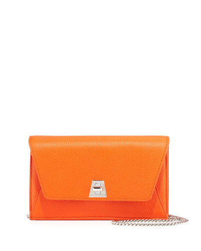 Anouk Leather Clutch Bag w/Chain, Zinnia