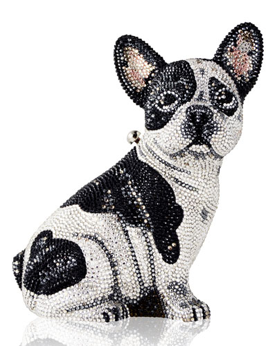 Crystal-Embellished French Bulldog Clutch Bag