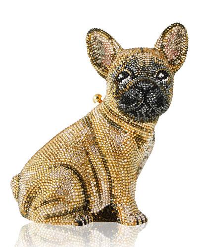 Crystal-Embellished French Bulldog Clutch Bag, Champagne