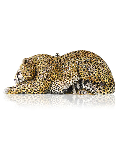 Crystal-Embellished Wildcat Clutch Bag, Ceylon/Multi