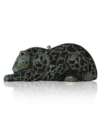 Crystal-Embellished Wildcat Clutch Bag, Jet/Multi