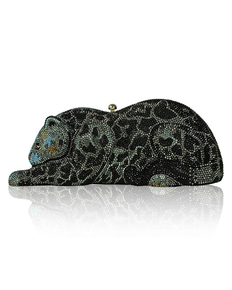 Crystal-Embellished Wildcat Clutch Bag, Jet/Multi