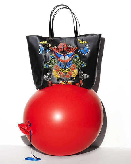 Butterfly-Embroidered Leather Shopper Tote Bag, Black/Multi