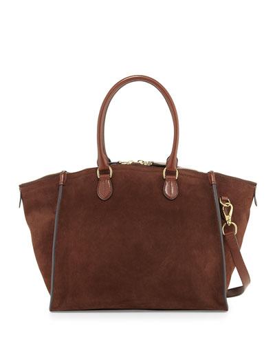 Large Suede Traveler Bag, Mocha