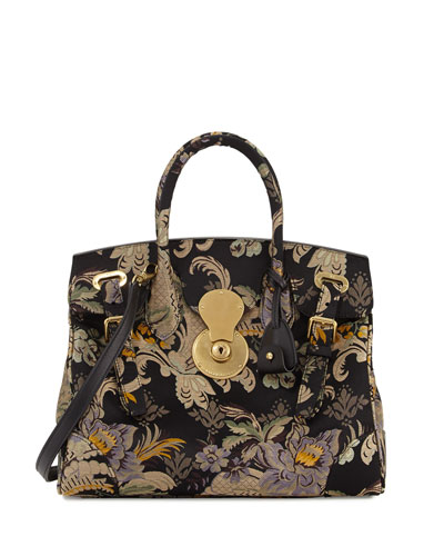 Ricky 33 Silk Brocade Satchel Bag, Black Pattern