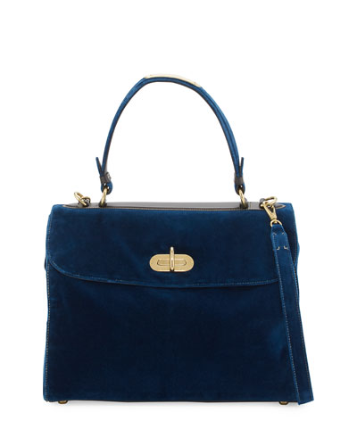 Tiffin 33 Velvet Top-Handle Bag, Prussian Blue