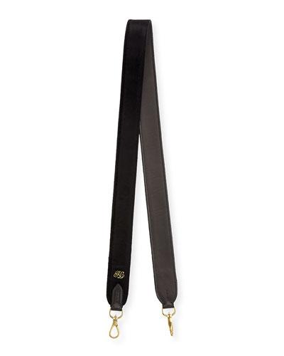Velvet Guitar Strap For Handbag, Black