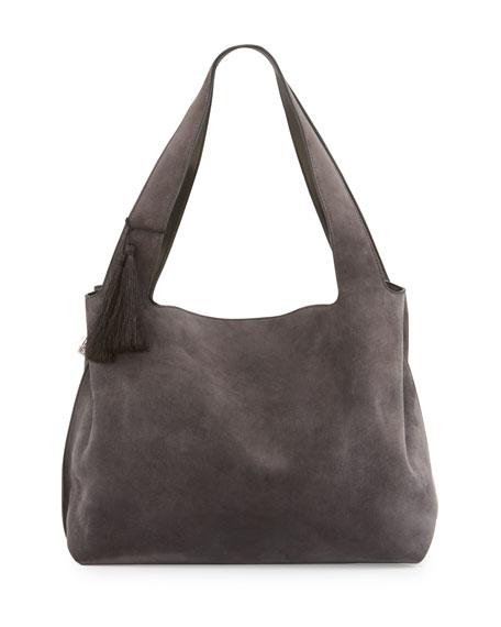 Duplex Suede Satchel Bag, Chocolate