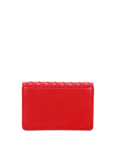 Intrecciato Flap Card Case, China Red