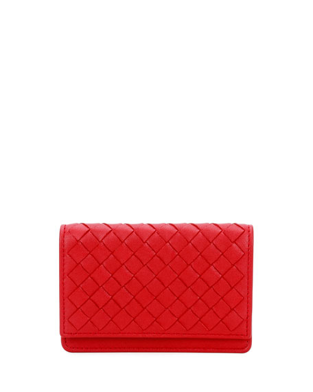 Intrecciato Flap Card Case, China Red