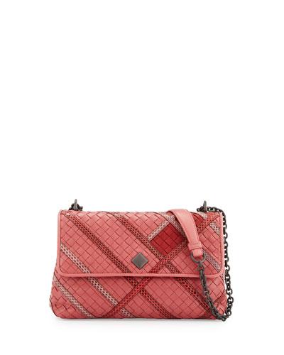 Olimpia Intrecciato Snakeskin & Leather Shoulder Bag, Pink
