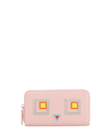 ea53e4251 Fendi Monster Eye Zip Wallet, Bubblegum