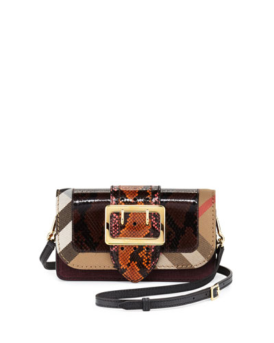 Randolph Ave One-of-a-Kind Snakeskin & Leather Patchwork Bag w/Check Canvas Trim