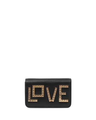 Micro Janis Golden Love Clutch Bag, Black