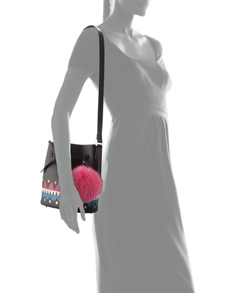 Daliah Fur Pompom Bucket Bag, Black/Multi