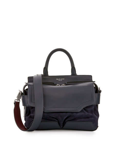 Pilot Small Leather Satchel Bag, Navy