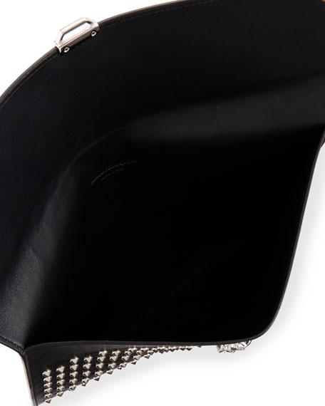 Studded Leather Skull Envelope Clutch, Black