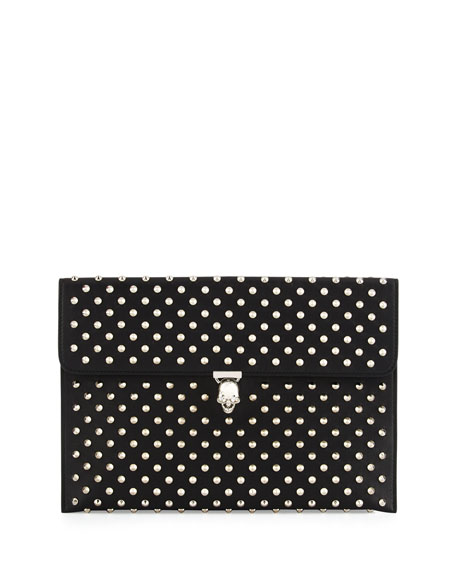 Alexander McQueen Studded Leather Skull Envelope Clutch, Black
